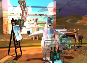 a shiny polar bear is behind a 4 feet tall shopping cart. 3 large wine bottles are in the shopping cart. a 1.5 feet tall hat is -.4 feet above the polar bear. a large easel is 1 feet left of and 1 feet behind the polar bear. it faces the bear. a 5 feet tall [metal] stove is behind  and 9 feet right of the easel. 3 potted plants are in front of the stove. a small shiny [stone] statue is behind  and  -.9 feet right of and -.8 feet above the easel. it is upside down. a [blurb] painting is -4.4 feet above and -1.4 feet in front of and -3.8 feet left of  the easel. it faces the bear. it leans 15 degrees to the back. a 3 feet tall lily is -8 feet above and -1.7 feet left of the statue. a large pie is -.6 feet right of and -3 feet above the bear.it leans 4 degrees to the front. a large wine glass is -.65 feet left of and -3 feet above and -1.7 feet in front of the bear. it leans 6 degrees to the right. the liquid of the wineglass is clear red. a  pink light is -.2 feet above the wine glass. a deer is right of the stove. it faces the  bear. it leans 7 degrees to the back. a huge hummingbird is right of and above the hat. it faces the hat. it leans to the front. 1st 30 feet long and 25 feet tall [desert] wall is 20 feet in front of the bear. 2nd  350 feet long and 40 feet tall silver wall is 1 feet behind the stove. it is 2 feet above the ground. a coral light is behind  the statue. the camera light is dim. 2 lemon yellow lights are behind the 2nd wall. the sun's azimuth is 120 degrees. the sun's altitude is 88 degrees.a cyan light is in front of the wine bottles.