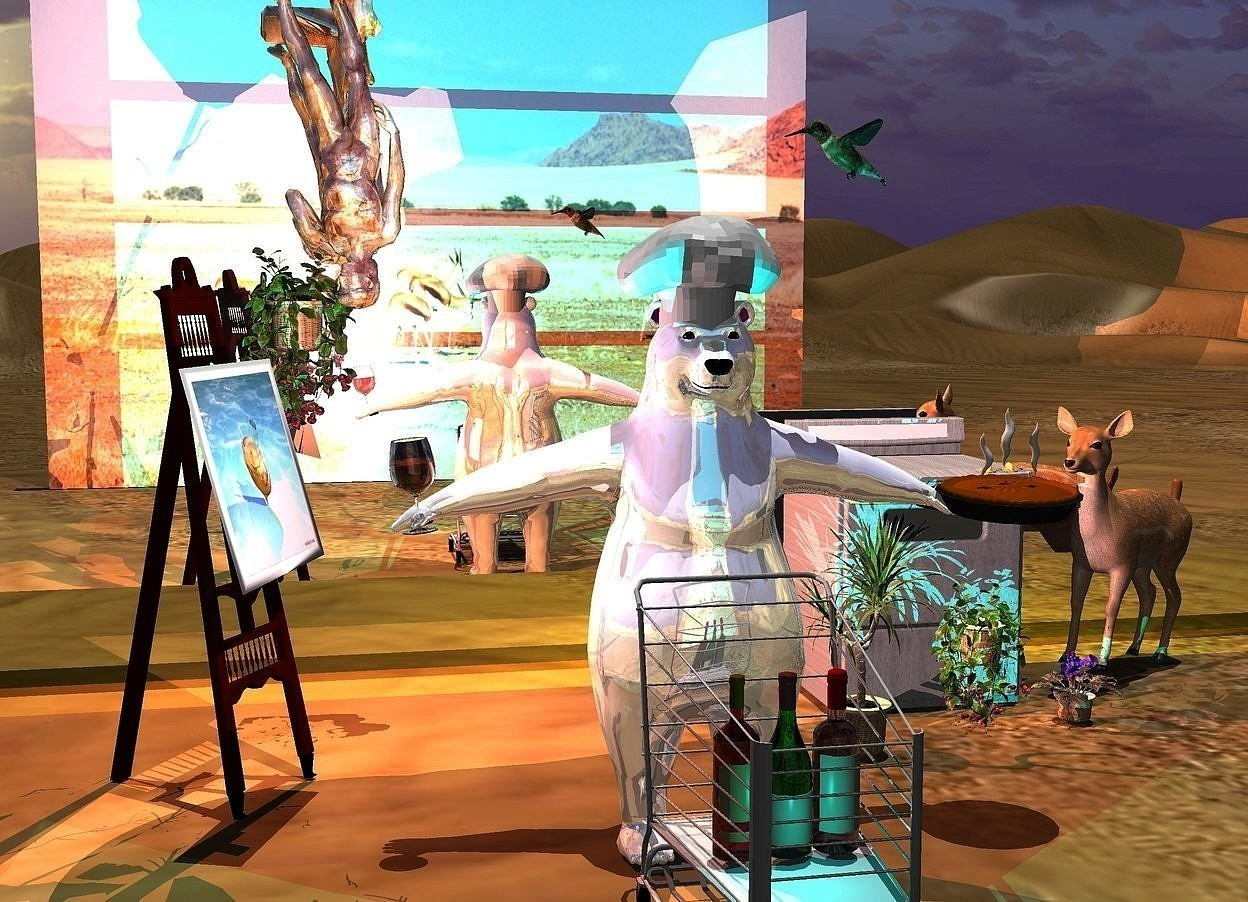 Input text: a shiny polar bear is behind a 4 feet tall shopping cart. 3 large wine bottles are in the shopping cart. a 1.5 feet tall hat is -.4 feet above the polar bear. a large easel is 1 feet left of and 1 feet behind the polar bear. it faces the bear. a 5 feet tall [metal] stove is behind  and 9 feet right of the easel. 3 potted plants are in front of the stove. a small shiny [stone] statue is behind  and  -.9 feet right of and -.8 feet above the easel. it is upside down. a [blurb] painting is -4.4 feet above and -1.4 feet in front of and -3.8 feet left of  the easel. it faces the bear. it leans 15 degrees to the back. a 3 feet tall lily is -8 feet above and -1.7 feet left of the statue. a large pie is -.6 feet right of and -3 feet above the bear.it leans 4 degrees to the front. a large wine glass is -.65 feet left of and -3 feet above and -1.7 feet in front of the bear. it leans 6 degrees to the right. the liquid of the wineglass is clear red. a  pink light is -.2 feet above the wine glass. a deer is right of the stove. it faces the  bear. it leans 7 degrees to the back. a huge hummingbird is right of and above the hat. it faces the hat. it leans to the front. 1st 30 feet long and 25 feet tall [desert] wall is 20 feet in front of the bear. 2nd  350 feet long and 40 feet tall silver wall is 1 feet behind the stove. it is 2 feet above the ground. a coral light is behind  the statue. the camera light is dim. 2 lemon yellow lights are behind the 2nd wall. the sun's azimuth is 120 degrees. the sun's altitude is 88 degrees.a cyan light is in front of the wine bottles.