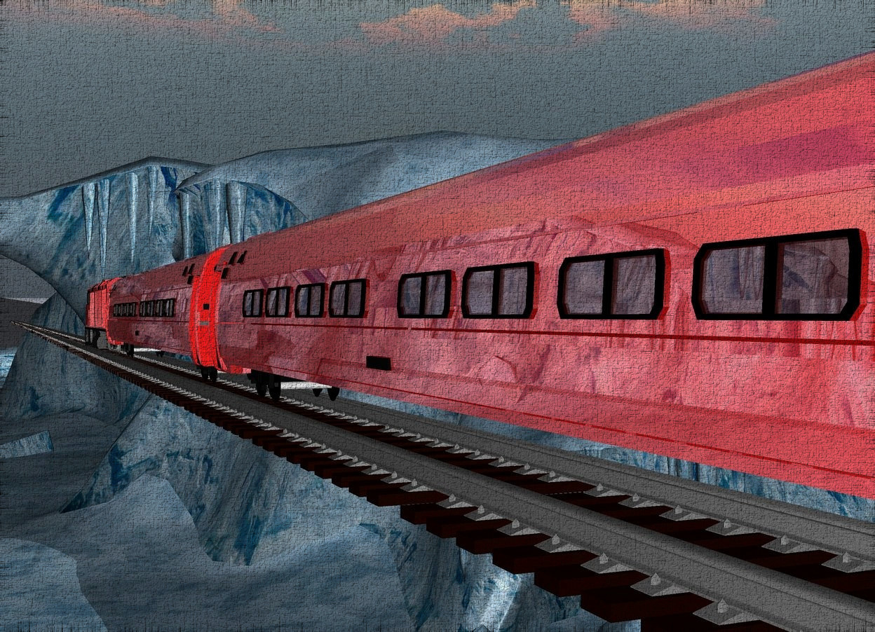 Input text: the 1st 90% red shiny train is on the 1400 feet long track. the track is 100 feet above the ground. the 2nd 90% red shiny train is behind the 1st train. the 3rd 90% red shiny train is in front of the 1st train. the 2nd train is facing back. it is 6 feet tall. it is morning. the ground is 10% shiny