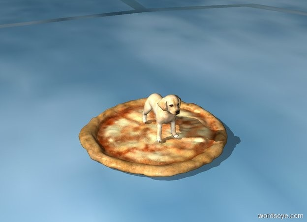 Input text: A dog on a pizza
