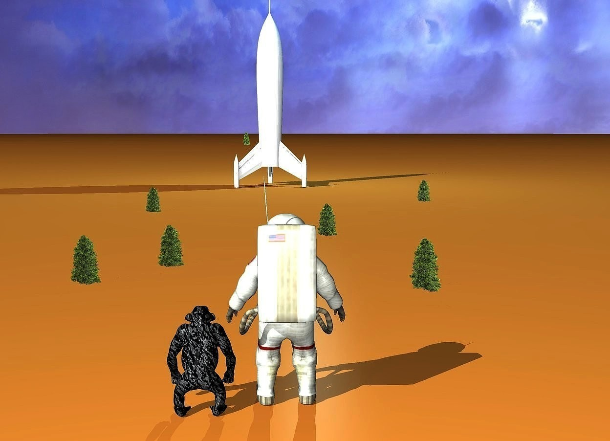 Input text: a  rocket ship. the ground is spicy gold. a astronaut is 85 feet in front of the rocket ship. he faces back. a [texture] ape is -.3 feet left of the astronaut. it faces back. 1st miniature tree is 6 feet left of and 17 feet behind the ape. it is -.7 feet above the ground.  2nd miniature tree is 5 feet right of and 14 feet behind the astronaut. it is -.6 feet above the ground. 3rd miniature tree is 22 feet behind and 2 feet left of the ape. it is -.8 feet above the ground. 4th miniature tree is 9  feet right of and 11 feet behind the 3rd tree. 5th miniature tree is  26 feet behind and 12 feet right of the 4th tree. 6th miniature tree is 29 feet behind and 4 feet left of the 3rd tree. 7th tiny tree is 359 feet behind the 6th tree. the sun's azimuth is 220 degrees. the sun's altitude is 30 degrees. the sun is 60% sky blue. a pond blue light is -2 feet above and 1 feet right of the rocket ship