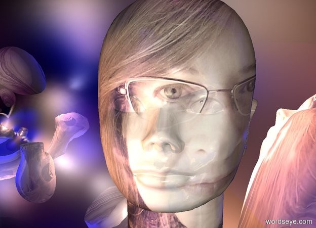 Input text: a 2 foot tall dull head is 2.1 foot wide [selfie]. the head faces southeast. it is -5 feet above a 10 foot tall silver egg.  a dawn rose light is in front of the head. a blue light is behind the head. a purple light is above the head.