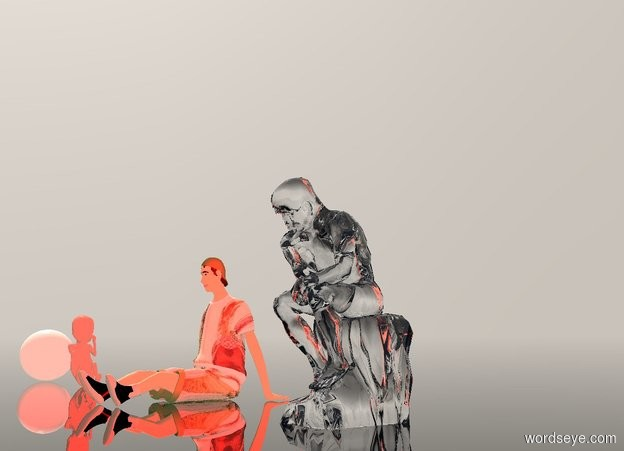 Input text: a  100 inch tall  clear statue.the camera light is  red.ambient light is antique white..sky is gray.ground is clear..six red lights are -30 inch above the statue.the statue is 10 inch wide [hal]. A 50 inch tall baby is 240 inch left of statue. The baby is facing right. A 80 inch tall female child is 80 inch left of statue. A 40 inch tall egg is 40 inch left of baby.