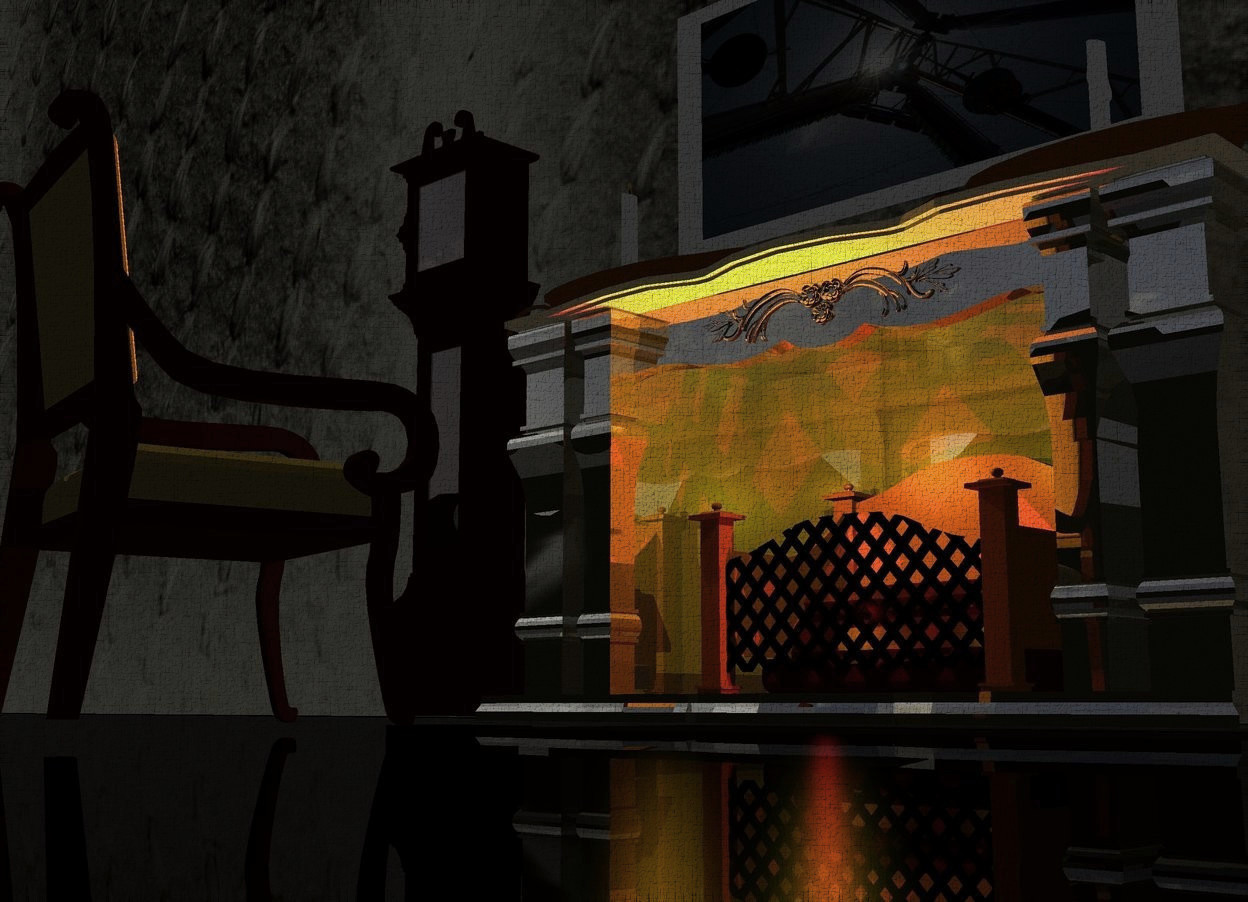 Input text: A dark shiny fireplace is in front of a 70 feet wide and 15 feet high [pattern] wall. Camera light is black. A red light is -12 inch in front of the fireplace. A yellow light is above the light. An orange light is left of the light. The ground is black. A small 50% dark chair is 1.5 feet in front of and -2 foot left of the fireplace. It is facing the fireplace. A 4 feet high clock is 1 feet left of the fireplace. A small 3 feet wide painting is 5 inch above the fireplace. It is [war]. A large candle is on and -1 foot left of the fireplace. A large candle is on and -2 foot right of the fireplace.