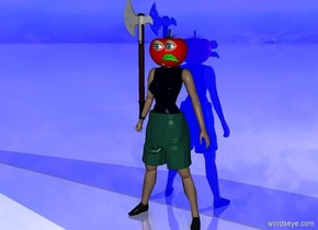 the ground is 30% blue and shiny. a girl. a 1.8 foot tall clothes  -49 inches above and -13 inches in front of  the girl. a huge tomato is -11 inches above and -15 inches in front of the girl. the 1st big eye is in front of and -8 inches above the tomato. the 2nd big eye is to the right of the 1st eye. a big green mouth is 1 inches under  the 2nd eye. an axe is in the girl's hand. a big blue shiny wall behind the girl. it is facing to the girl