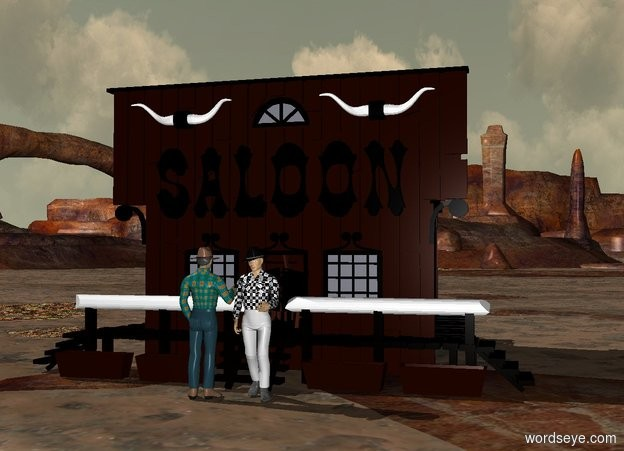 Input text: two cowboys in front of a saloon. one cowboy facing north