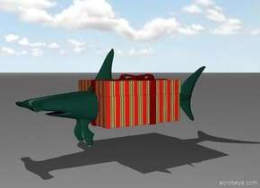 A hammerhead shark that is inside of a huge Christmas present