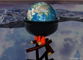 a 15 foot tall glass bowl. the 25 foot tall earth is in the bowl. the bowl is -90 inches above an enormous fire. the ground is black and shiny