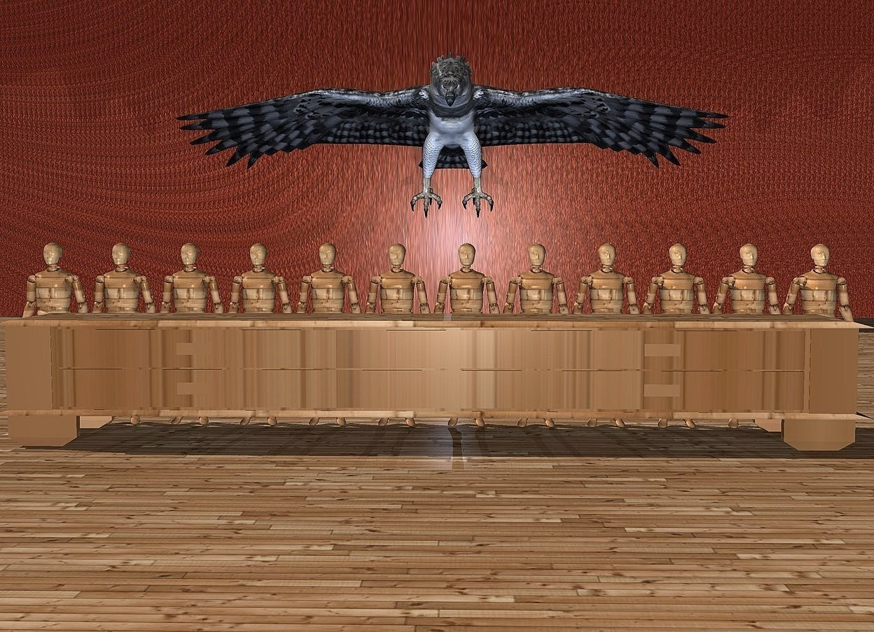 Input text: 12 crash dummies.a 45 inch tall and 310 inch wide [wood] table is in front of the crash dummies.the crash dummies are 40 inch wide [wood].a 1000 inch wide and 900 inch tall flat wall is 600 inch behind the crash dummies.the wall is 2000 inch tall [wood].ground is wood.a 160 inch tall harpy eagle is -10 inch in front of the wall.the harpy eagle is -830 inch above the wall.the harpy eagle leans 30 degrees to the front.a delft blue light is 5 inch in front of the harpy eagle.
