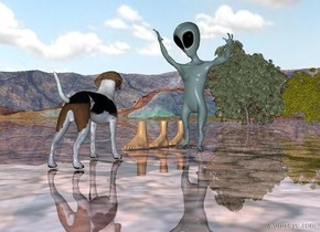 3 feet to the left of the alien. The five tiny trees are 20 feet behind the alien. The ground is shiny. The dog is 2 feet in front of the alien. The dog is facing the feet.