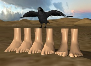 6 feet are 1 inch in the ground. the crow is on the feet.