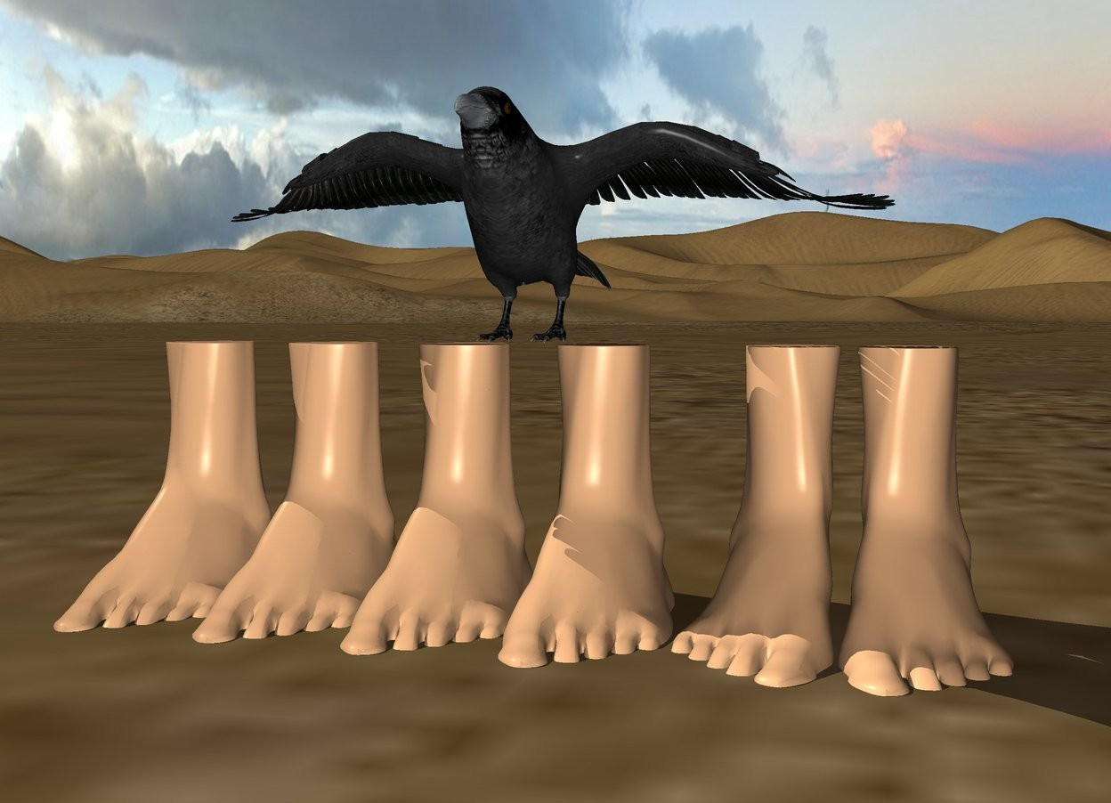 Input text: 6 feet are 1 inch in the ground. the crow is on the feet.