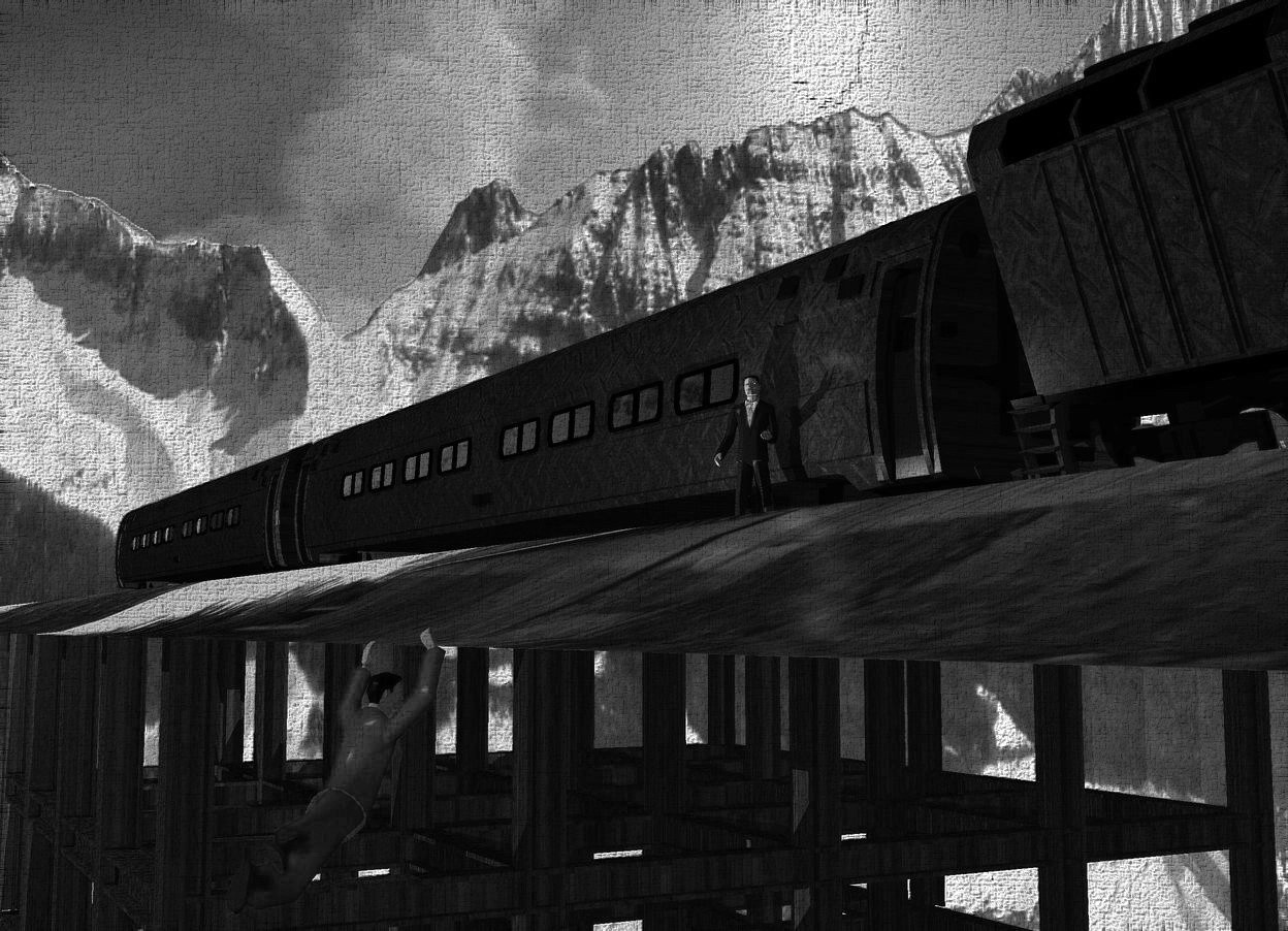 Input text: There are mountains in the background. A long dark [track] road is on a small building. A first 30% dark [metal] train is on the road. A second 30% dark [metal] train is behind the first train. A small 30% dark [metal] train is -1 feet in front of the first train. It is leaning 20 degrees to the right. The building is 2 feet wide [wood]. The ground is silver. The background is very tall. The sun is grey. A cyan light is right of the train. A small man is left of and -6 feet in front of the first train. He is facing southwest. A light is left of the man. Camera light is navy. A light is left of the building. A navy light is above the man. A 2.5 feet high man is 8.8 feet left of and -6.7 feet above and 10 feet in front of the man. He is facing east. He is leaning 45 degrees to the front. A brown light is left of the man. The suit of the man is navy. The azimuth of the sun is 290 degrees.