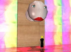 a 3 feet tall door knob.the door knob is 4 feet above the ground.a 1st 0.5 feet tall eye is -12 inches right of the door knob.a 2nd 0.5 feet tall eye is -12 inches left of the door knob.the 1st eye is -2 inches in front of the door knob.the 2nd eye is -2 inches in front of the door knob.the 1st eye is -15 inches above the door knob.the 2nd eye is -15 inches above the door knob.a 0 .5 feet tall mouth is -5 inches in front of the door knob.the door knob is texture.a 10 feet tall door is behind the door knob.the door is on the ground.the door is 5 feet wide.a 1st 10 feet tall flat wall is left of the door.a 2nd 10 feet tall flat wall is right of the door.a 2 feet tall woman is 4 feet in front of the door.the woman is facing the door.the woman's hair is yellow.it is noon.the 1st wall is [glass].the 2nd wall is [glass].the door is wood.the 1st wall is shiny.the 2nd wall is shiny.the ground is shiny glass.