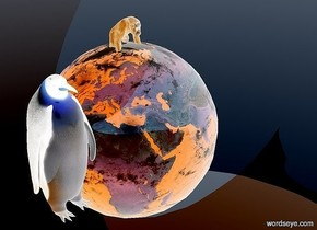 100 inch tall earth.a 40 inch tall penguin is in front of the earth.the penguin is -12 inch above the earth.the penguin is -150 inch right of the earth.a 20 inch tall dodger blue ape is -5 inch above the earth.ground is antique white.the azimuth of the sun is -15 degrees.a dodger blue light is left of the penguin.