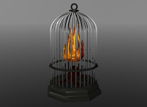 1st dull silver cage is 3 foot above ground. 1st [fire] flame 1.3 foot in 1st cage. sky is grey. ground is clear
