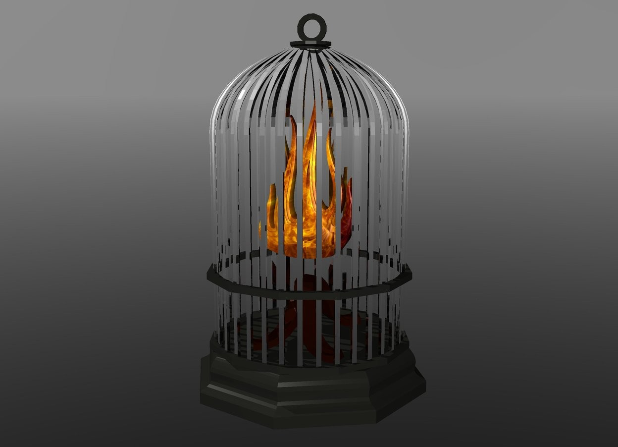 Input text: 1st dull silver cage is 3 foot above ground. 1st [fire] flame 1.3 foot in 1st cage. sky is grey. ground is clear