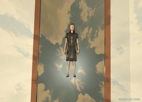 the woman is above the 20 feet tall mirror. the mirror is facing up. the woman is facing up. it is sunset. the ground is shiny. the mirror is shiny. the woman is shiny