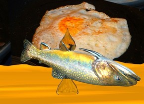 a  5 inch tall and 90 inch wide and 80 inch deep white fried egg.the white of the egg is sunlight yellow.a 12 inch tall fish is -2 inch above the fried egg.the fried egg is upside down.the fried egg is -3.5 inch above the ground.ground is sunlight yellow.the fish is upside down.the fish leans 15 degrees to the front.the fish is facing southeast.sky is 1000 feet tall.sky is 5200 inch wide [EO].sky leans 40 degrees to south.ambient light is gold.a 1st 8 inch tall sunlight yellow drop is -8.5 inch above the fish.a 2nd 10 inch tall yellow drop is -23 inch above the fish.