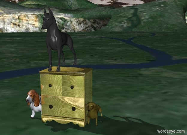Input text: doberman on a gold table and the dog is very cold with a diamond and a dachshund that is gold