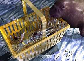 A silver squid is 3 inch in a huge gold basket. It is facing east. The basket is 5 feet above the ground. The ground is 10 feet wide [water]. Camera light is black. A purple light is behind and above the basket. A mauve light is 2 feet left of the light. A large walrus is -1.5 feet left of and -6 feet above the basket. It is facing the basket. A light is 2 feet behind and above the walrus. A large crab is above and -3.5 feet in front of the squid. A large crab is right of and in front of and -2 feet above the crab. It is facing northeast. It is leaning 40 degrees to the front. A large fish is -1.5 foot left of and above and -1 foot behind the crab. It is leaning left. It is facing southwest. The azimuth of the sun is 280 degrees.
