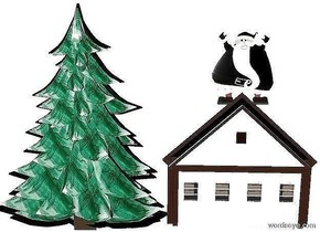 sky is white. ground is invisible. a 1st 10 foot tall and 8 foot wide flat black tree. a 2nd 9.5 foot tall and 7.3 foot wide flat [Multi Colored] tree is in front of and -9.7 feet above the 1st tree. a 1st  6 foot tall flat black house is behind and to the right of the tree. a 2nd 5.5 foot tall flat house is in front of and -5.7 feet in front of the 1st house. the 2nd house is white. a 3 foot tall flat black man is above the house.