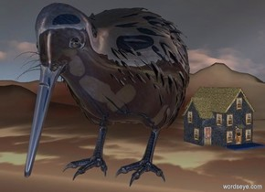 a 100 inch tall  shiny 60% dim delft blue kiwi bird.ground is 100 inch wide  [sky].the kiwi bird is 100 inch above the ground.ground is 80 feet tall.it is evening.ambient light is gray.sky is 7000 feet tall.sky leans 10 degrees to north.a 50 inch tall  50% dim delft blue house is -30 inch right of the kiwi bird.the house is 10 inch behind the kiwi bird.the house is facing southeast.