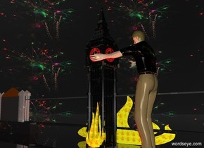 a shiny black monument.the monument's number is red.the monument's minute hand is gold.the monument's hour hand is gold.the sky is [firework] texture.the [firework] texture is 1000 feet tall.clear ground.a 150 feet tall man is right of the monument.the man is facing the monument.a rust light is 2 feet in front of the monument.the man's shirt is [firework].a 1st 60 feet tall flame is -10 feet in front of the monument.the flame is fire.a 100 feet tall shiny bridge is behind the monument.the bridge is 800 feet long.a 2nd 70 feet tall flame is behind the bridge.the 2nd flame is 180 feet wide.the 2nd flame is fire.