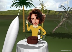 The table is in front of Elizabeth Taylor. The rocket is -1.5 foot to the left and 1 foot in front of her. It is 6 feet tall. It is leaning 20 degrees to the left. The first small plate is 3 inches in front of Elizabeth Taylor. It is above the table. A second small plate is -1.3 foot to the right of the rocket. It is above the table. The third small plate is 9 inches to the right of the second plate. The cake is 1 inch in front of the first plate. The bottle is behind and -2 inches to the right of the cake. The first glass is to the left of the cake. The second glass is 3 inches to the right of the cake. The three very small palm trees are 10 feet behind the Elizabeth Taylor. The ground is grass.