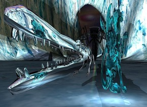 A silver crocodile is 10 feet high and 200 feet long. A 4 feet wide and 12 feet high clear cyan monster is 1.5 feet right of and -20 feet in front of the crocodile. The ground is 50% dark and 600 feet high. The sky is 1000 feet wide [nebula]. 4 lights are behind the monster. A 50 feet high clear insect is behind the crocodile. A pink light is in front of the crocodile. A green light is behind the insect. Camera light is black. A scarlet light is next to the light.
