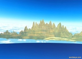 the gold ground is 1000 feet wide and 1 foot deep and 100 feet tall. sky is 3000 foot wide [cloud].