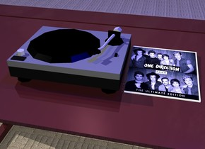 turntable is on dull dark brown table. book is to right of turntable and -3 inch above table. it is 1 foot tall and 1 foot wide. it leans 80 degrees to the back. it is [image-11607]. ground is carpet. 1st dim pink light is 12 inches above turntable. 1st blue light is 120 inches above 1st turntable. 1st clear icosahedron is 1 foot wide and 1 foot tall. it is 100 inches above book. it leans 20 degrees to the left