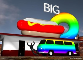 "The huge  ""BIG"" is -2 feet above and -24 feet in front of the building. It is facing left. The donut of the building is rainbow. The extremely  enormous  red hot dog is -20 feet above the building. It is facing left. The rainbow car is to the left of the building. It is facing back. The man is -1 foot behind the car. He is facing right."
