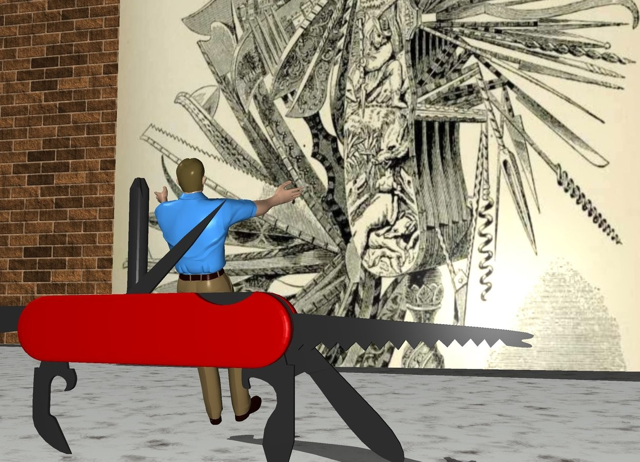Input text: The very huge knife is 6 feet in front of the [image-11609] wall. It is facing right. The wall is 7 feet wide. Another [brick] wall is 4 feet behind the wall. The ground is marble. The tiny man is behind the knife. He is facing back. He is leaning 30 degrees to the back.