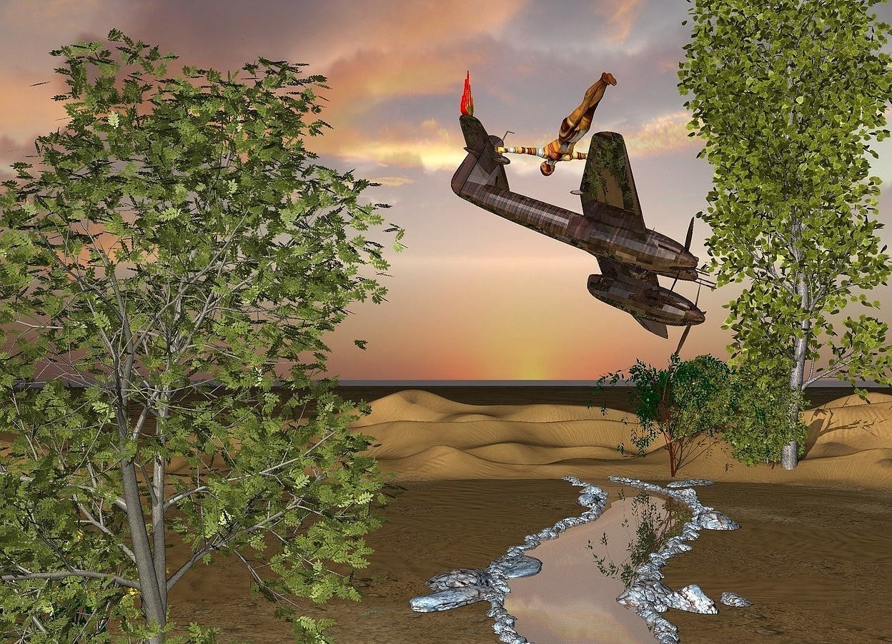 Input text: a 300 feet long river. the water of the river is shiny 1 feet wide [texture]. 1st tree is -4 feet left of the river. 2nd tree is in front of the 1st tree. 3rd tree is behind the 1st tree. a small shiny [metal] plane is -18 feet above and in front of the 2nd tree. it leans 30 degrees to the southwest. 4th tree is right of the river. 5th tree is  left of the 4th tree. 6th tree is 12 feet in front of the 5th tree. a [style] woman is -6 feet above the plane. she faces northeast. she leans 120 degrees to the front. a large fire is -3.2 feet above and -3 feet behind the plane.a giant tree is in front of the 5th tree.