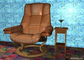 a martini glass is on a 2 feet tall  [stone] table. a olive is -2 inch above the glass. a chair is left of the table. a [texture] wall is behind the chair. the ground is tile.