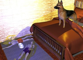 the dog is on the bed. the [wall] wall is to the left of the bed. it is facing to the bed. the carpet is in front of the bed. the 1st 4 feet tall man is on the carpet. he is facing up. the ground is tile. the 2nd 0.9 feet tall man is to the left of the 1st man. the yellow light is on the dog. the blue light is on the 1st man. the dish is -6 inches to the left of the 1st man