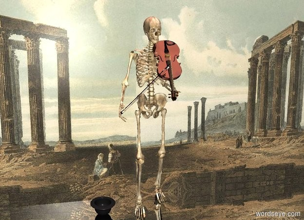 Input text: a skeleton.a shiny violin is -17 inches in front of the skeleton.the violin is 3.6 feet above the ground.the violin is facing north.the violin is leaning 55 degrees to the north.the violin is -8 inches right of the skeleton.a violin bow is -19 inches left of the skeleton.the violin bow is 3.2 feet above the ground.the violin bow is leaning 45 degrees to the east.the violin bow is -6 inches in front of the skeleton.a flat wall is behind the skeleton.it is noon.the wall is [ruin].silver ground.the wall is 1 inches in the ground.a upside down hat is left of the skeleton.the sun is pink.
