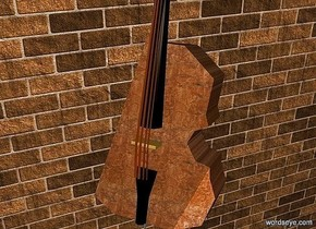 a 800 inch wide and 650 inch tall wall.the wall is 150 inch wide [brick].a 350 inch tall and 80 inch deep and 150 inch wide wood double bass is -100 inch in front of the wall.the double bass is -480 inch above the wall.the double bass is facing southwest.the double bass leans 15 degrees to back.