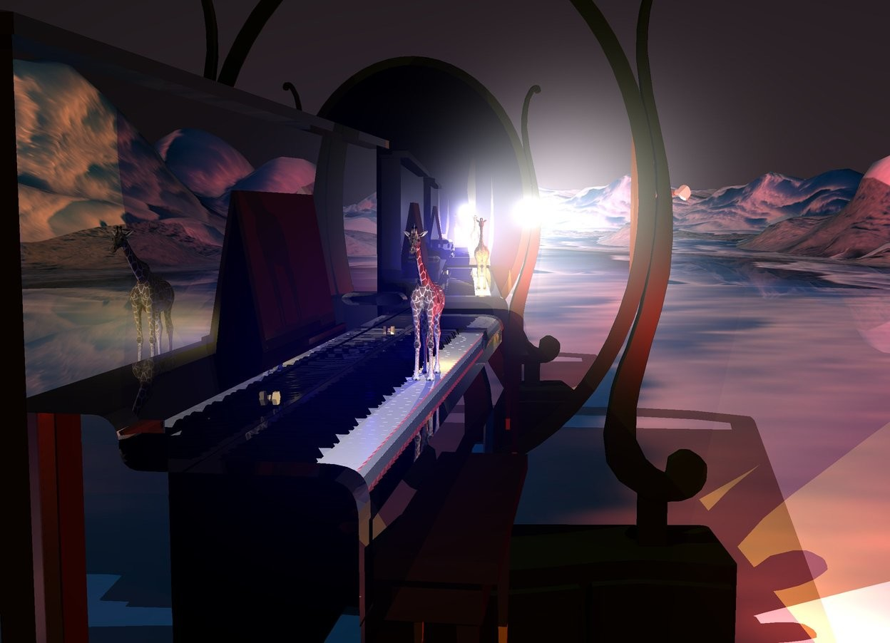 Input text: The ground is 400 feet wide [ice]. The sky is black. A very tiny giraffe is -1.5 foot  in front of and -3.8 foot above a large shiny black piano. It is facing east. The sun is silver. A navy light is behind the giraffe. A red light is left of the piano. An enormous mirror is right of and -20 feet above the piano. It is facing the piano. A humongous mirror is left of and -20 feet above the piano. It is facing the piano. A lemon light is left of the giraffe. The sun is lilac.