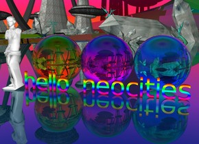 "The rainbow ground is translucent. The sky is rainbow.  There is a 5 foot tall ""hello neocities"". ""hello neocities"" is rainbow.   There is a 15 foot tall translucent cyan sphere behind the ""hello neocities"". There is a 15 foot tall translucent magenta sphere behind the ""hello neocities"". There is a 15 foot tall translucent  yellow sphere behind the ""hello neocities"".  The 20 foot tall white statue is to the left of ""hello neocities""."