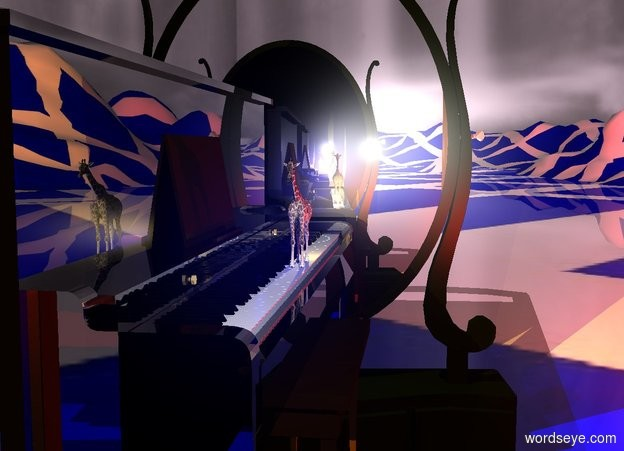 Input text: The ground is 150 feet wide [scotland]. The sky is [rain]. A very tiny giraffe is -1.5 foot  in front of and -3.8 foot above a large shiny black piano. It is facing east. A navy light is behind the giraffe. A red light is left of the piano. An enormous mirror is right of and -20 feet above the piano. It is facing the piano. A humongous mirror is left of and -20 feet above the piano. It is facing the piano. A lemon light is left of the giraffe. The sun is lilac.