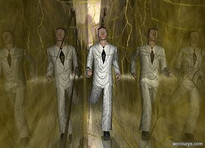 a man.the ground is 30 feet wide.a white light is 4 feet behind the man.the light is 3 feet above the ground.shiny ground.the ground is gold.the man's suit is texture.the man's necktie is black.a humongous yellow web is 1 feet in front of the man.the web is 3.5 feet in the ground.a 10 feet tall lightning bolt is behind the white light.