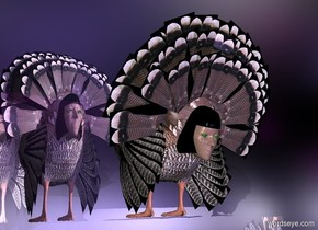 a turkey is -10 feet above a 20 feet tall shiny silver egg.a purple light is 1 feet above the turkey.a mauve light is 1 feet behind the turkey.a head is -14 inches behind the turkey.the head is facing north.the head is -25 inches above the turkey.the head is leaning 20 degrees to the south.the head's eye is green.