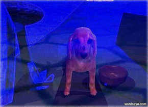 a 30 feet tall clear light blue egg.a 10 feet tall dog is 10 feet behind the egg.a 1st white light is 1 feet in front of the dog.a 2 feet tall bowl is 5 inches left of the dog.a yellow light is -6 inches above the bowl.the camera light is red.a 2nd white light is 1 feet above the dog.
