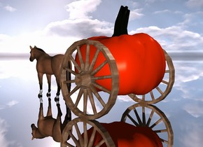 5 feet tall pumpkin is 1 foot above the ground. the 1st big [wood] wheel is -5 inches to the right of the pumpkin on the ground. the 2nd big [wood] wheel is -5 inches to the left of the pumpkin on the ground. the 4 feet tall horse is 2 feet in front of the pumpkin on the ground. the ground is silver.
