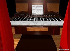 a 50 inch tall and 65 inch wide and 140 inch deep shiny piano. a 50 inch tall and 50 inch wide curtain is in front of the piano.sky is black.ground is 70 inch wide [wood].a 1000 inch wide and 700 inch tall black flat wall is behind the piano.the  music stand of the piano is 2.5 inch wide [MS1].the curtain is 80% dim fire brick.