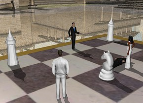 a chessboard.the chessboard is 50 feet long.a 1st man is above the chessboard.the 1st man is -90 inches left of the board.the 1st man is facing east.the 1st man is -20 feet behind the board.a 1st 7 feet tall white tower is 11 feet behind the 1st man.a white woman is 12 feet right of the man.the woman is facing the man.a 2nd white man is 12 feet in front of the woman.the 2nd man is facing northwest.a 2nd 7 feet tall white tower is 12 feet left of the 2nd man.a 3rd man is 10 feet right of the 1st man.the 3rd man is face up.the ground is shiny.a 4 feet tall white knight is 6 feet behind the 2nd man.the knight is facing left.