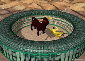 a 280 inch tall stadium.the athletic-field of the stadium is sand.the roof of the stadium is 600 inch wide [wood].the stripe of the stadium is [wood].ground is 4000 inch tall [dirt].a 270 inch tall bull is -50 inch above the stadium.the bull is -1300 inch in front of the stadium.the bull is facing northwest.a 270 inch tall gray man is -90 inch left of the bull.the man leans 90 degrees to the front.the suit of the man is gold.the azimuth of the sun is 20 degrees.the altitude of the sun is 40 degrees.