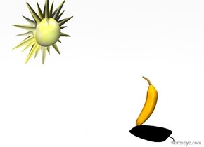a banana leans 80 degrees to the front. the sky is white. the ground is invisible.  a .9 foot tall flat black apple is -.4 foot to the right of the banana. it faces southwest. it leans 90 degrees to the back. the sun's altitude is 90 degrees. a small sun symbol is -.2 foot above and  .5 foot in front of and 1 foot to the left of the banana. it faces the banana. it leans to the front.